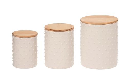 Textured Ceramic Jars (3 piece set)