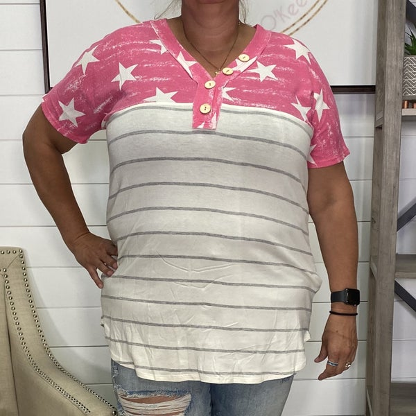 Pink & Ivory Two Tone Honeyme Top