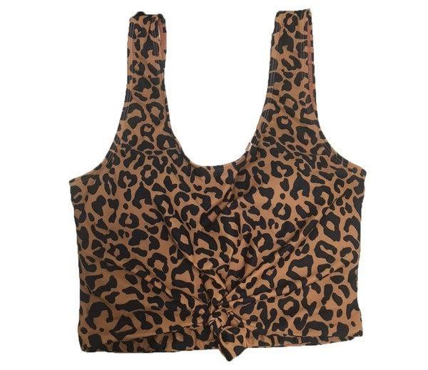 Leopard Print Knotted Tankini Swim Top