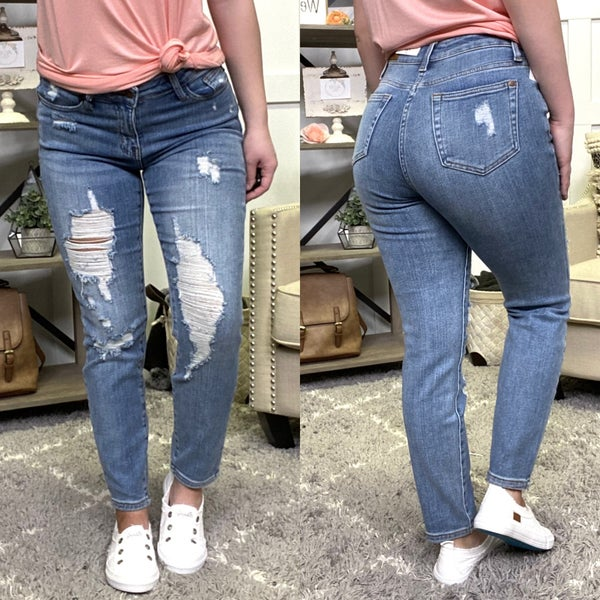 Destroyed High Waisted Boyfriend Judy Blue Jeans