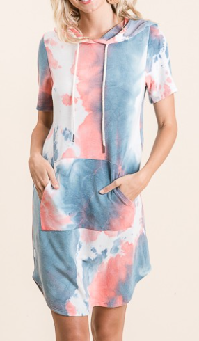 American Tie Dye Hooded Dress