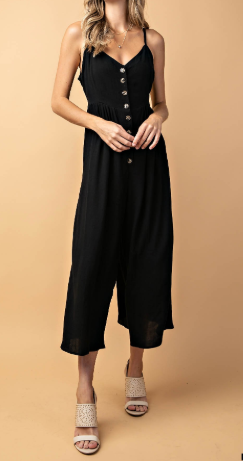 Button Down Rayon Sleeveless Jumpsuit -  3 colors!