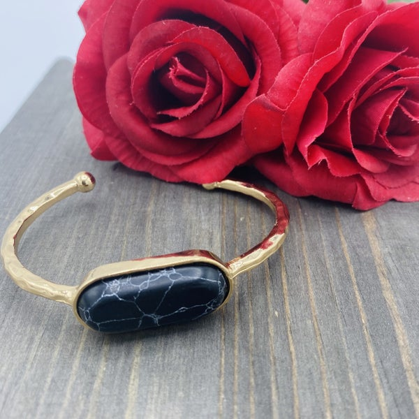 Gold Cuff Bracelet with Black Pendant