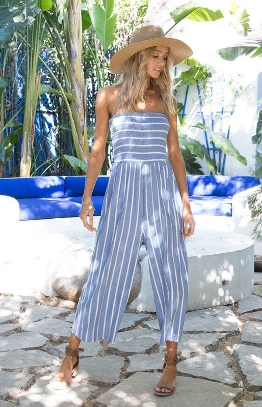 All The Style Stripe Jumpsuit  - 5 colors! - Blue