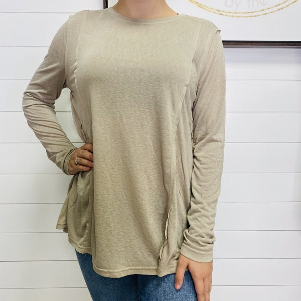 Raw Seam Light Weight Long Sleeve Top -2 colors!