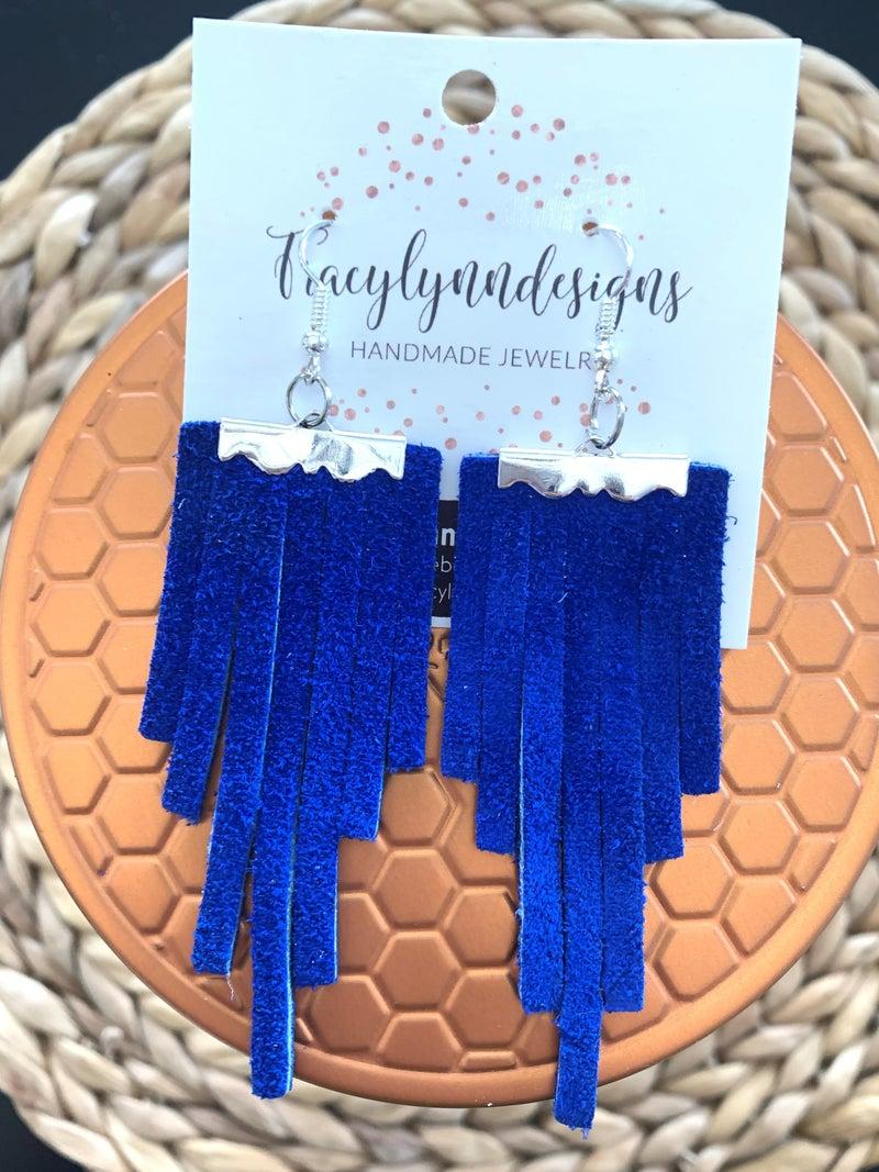 Blue Suede Fringe Earrings