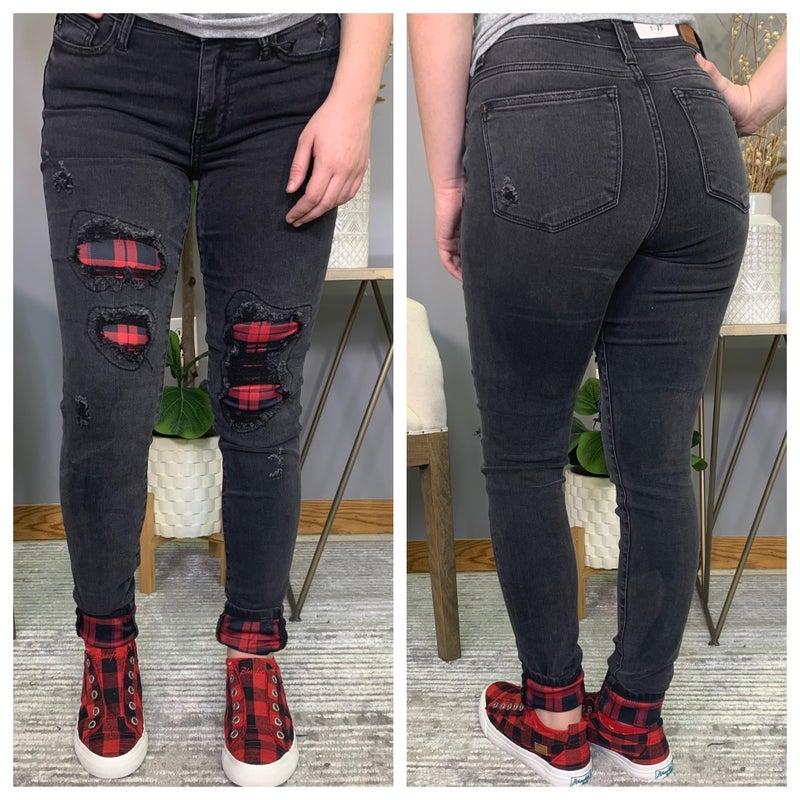 Black Destroy Buffalo Plaid Patch Judy Blue Jeans