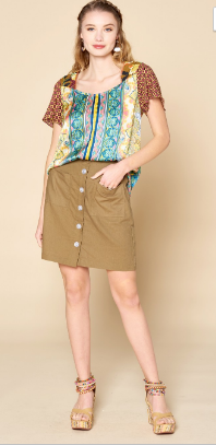 Button Front High Wasted Mini Skirt