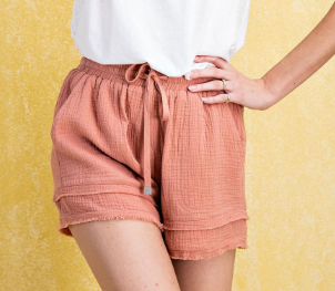 Faded Coral Elastic Waist Shorts