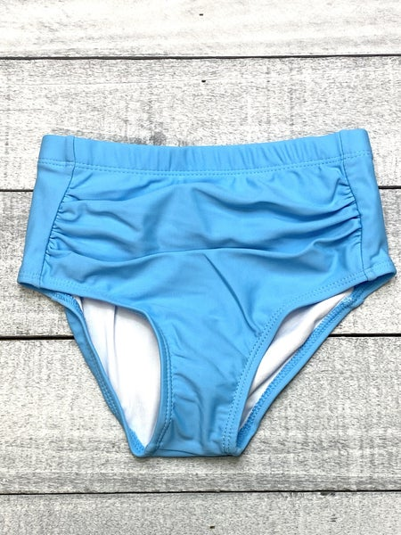 Blue Scrunched Kids Swim Bottoms