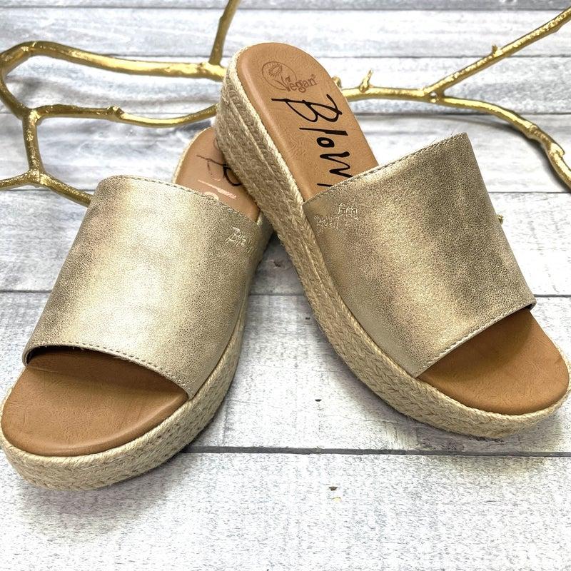 Gold Metallic Blowfish Sandal