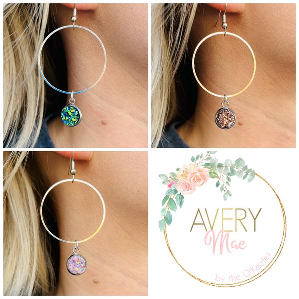 Faux Druzy Dangle SIlver Hoop Earrings - 6 colors!