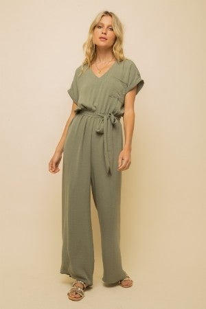 Olive Wide Legged Jumpsuit