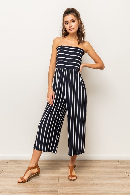 All The Style Stripe Jumpsuit  - 5 colors! - Navy
