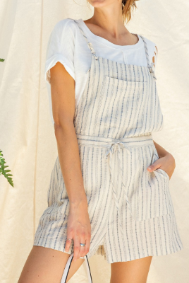 Faded Blue Striped Overalls