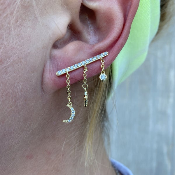 B.B.Lila Star & Moon Climber Earrings