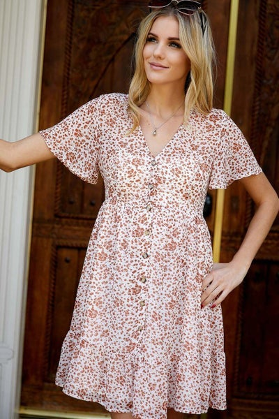 Ivory & Rust Floral Button Down Dress