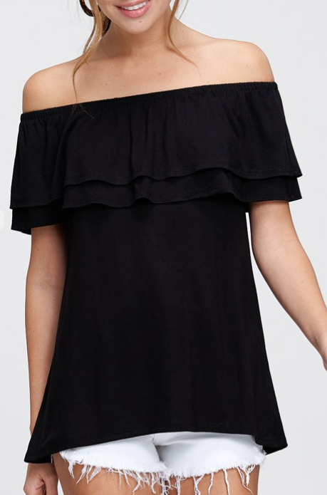 Ruffle Off The Shoulder Top - 4 colors!