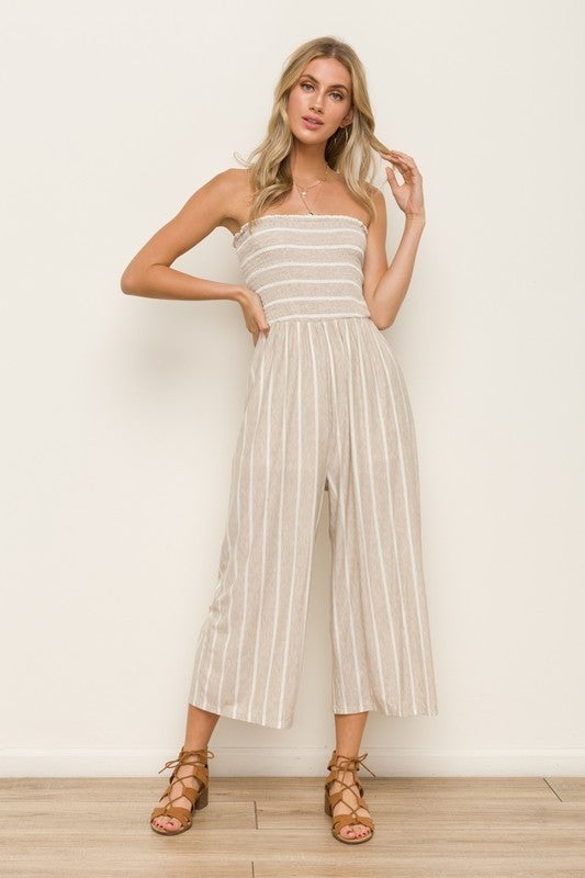All The Style Stripe Jumpsuit  - 5 colors! - Oat