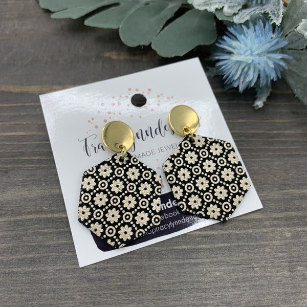 Handmade Genuine Leather Champagne & Black Earrings