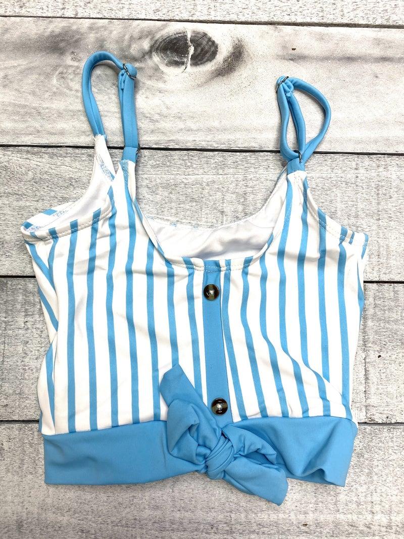 Blue Pinstripe Kids Swim Top