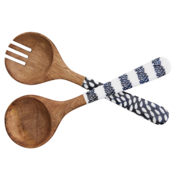 Mango Wood & Enamel Spoon Set (2 piece set)