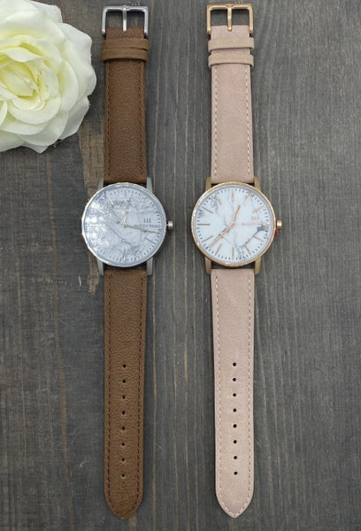 Leather Marble Watch- 2 colors!
