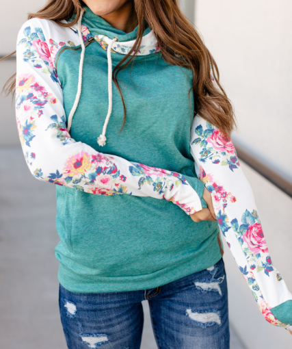 Hint of Flowers Double Hooded Ampersand Avenue Hoodie