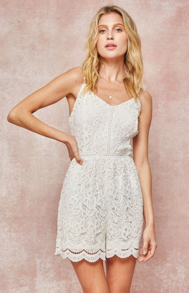 Layered Lacey Ivory Romper