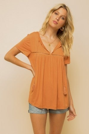 Rust Tassel Toss Up Top