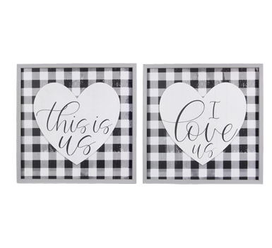 Black Plaid Love Signs - 2 options!