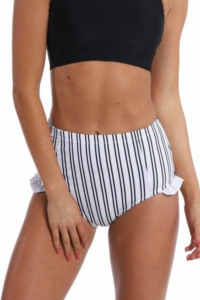 Black & White Striped Mid Waist Swim Bottoms