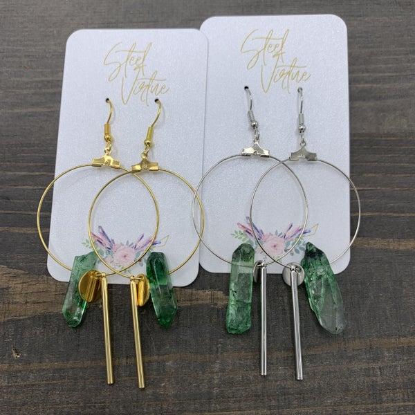 GOLD Handmade Crystal Charm Hoop Earrings- Lead & Nickel Free