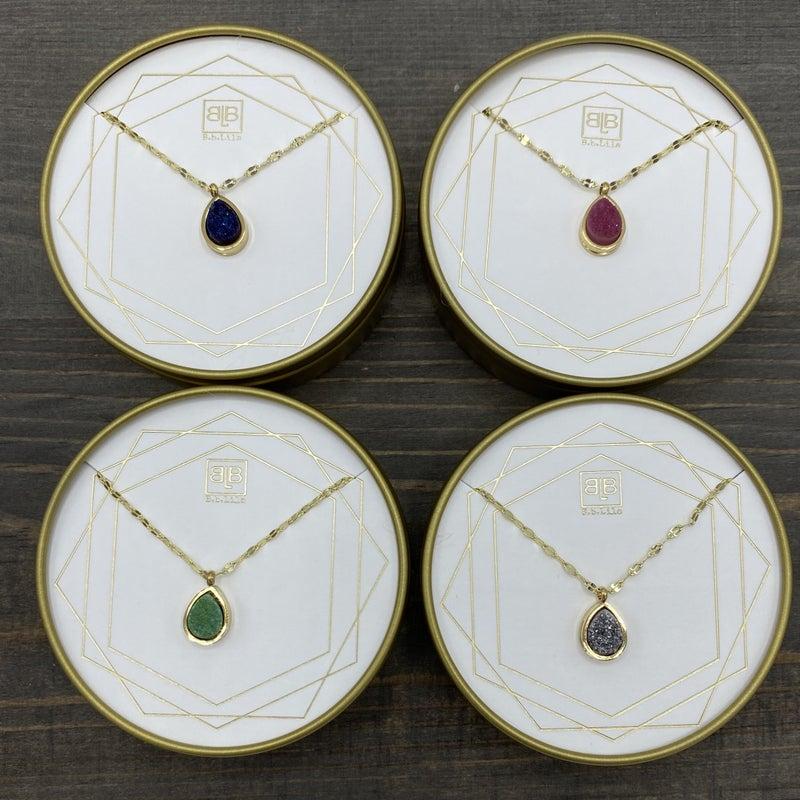 Small Tear Drop Necklace - 4 colors!