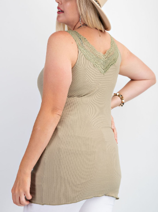 Lace Detail V Neck Ribbed Easel Tank - 2 colors!