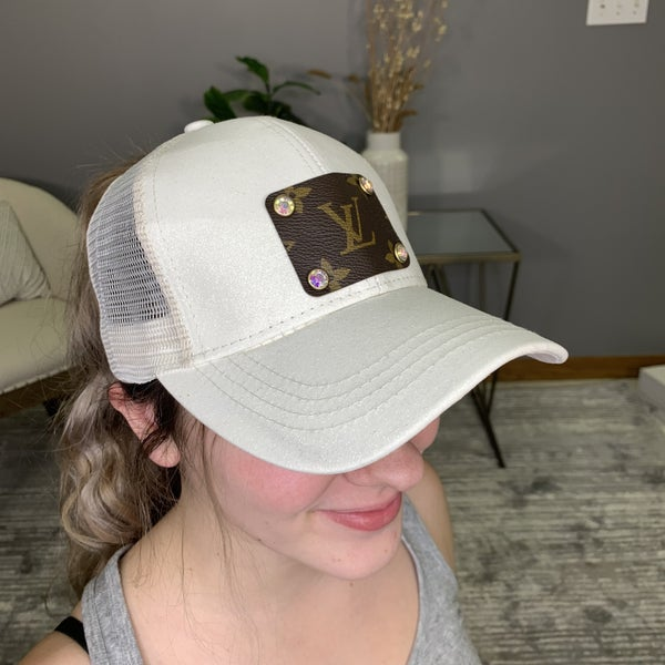 Up-Cycled Designer White Shimmer Glam Hat