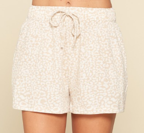 Taupe Leopard Comfy Shorts