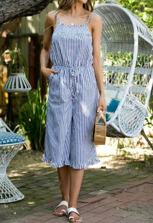 Navy & White Pinstripe Cropped Jumpsuit