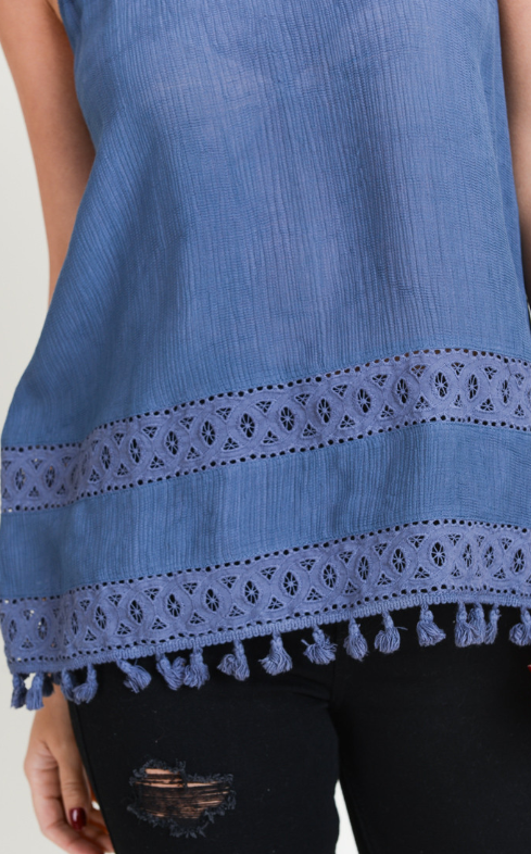 Denim Blue Embroidered Tassel Tank