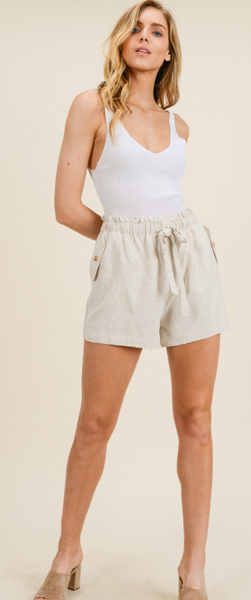 Beige High-Waisted Paperbag Shorts