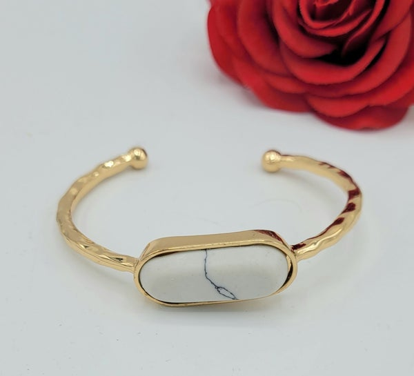 Gold Cuff Bracelet With White Pendant
