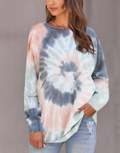 Multicolor Ombre Tie Dye Loose Leisure Sweatshirt
