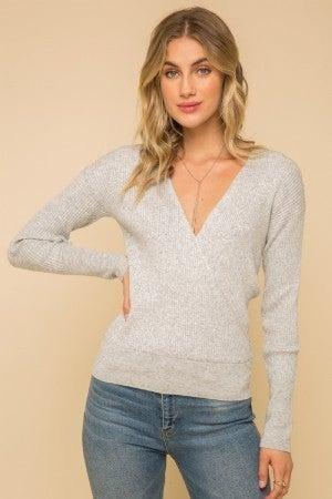 Grey V-Neck Ribbed Sweater