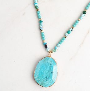 Southern Lady Beaded Necklace With Turquoise Stone Pendant
