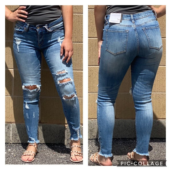 Mid Rise Distressed KanCan Skinny Ankle Jeans