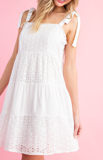 White Eyelet Lace Tiered Mini Dress