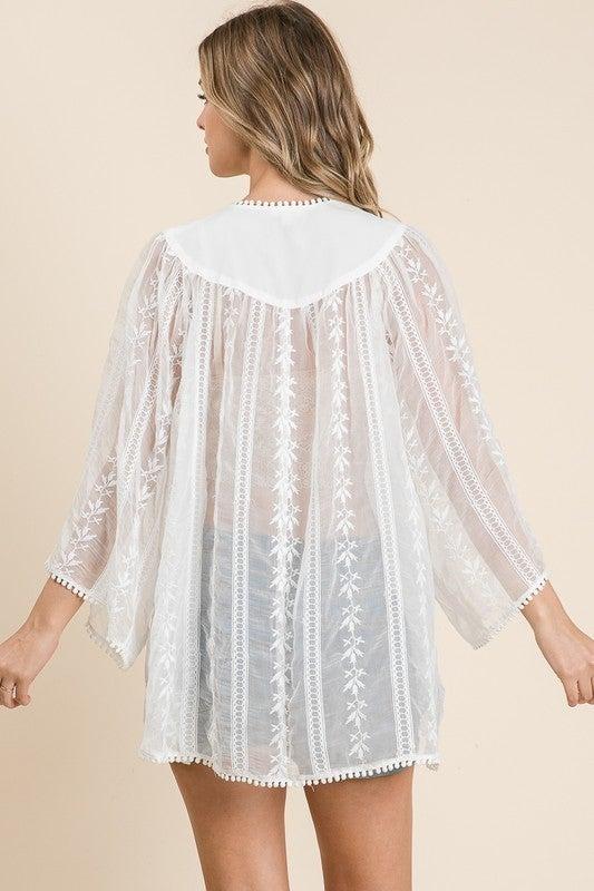 Sheer Embroidered Lace Kimono