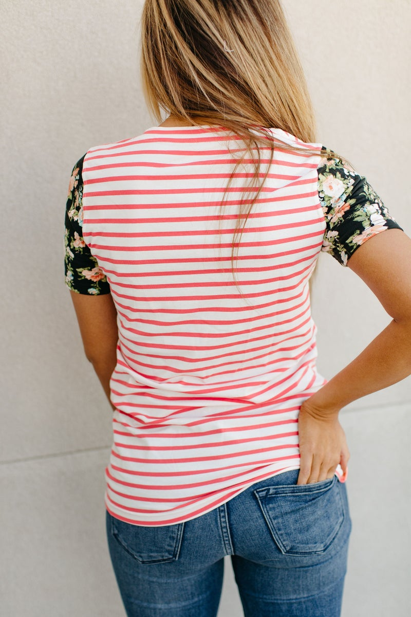 Striped Floral Sleeve Ampersand Avenue Top