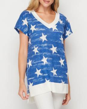 Blue & White Distressed Stars Honeyme Top