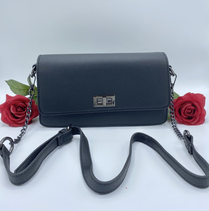 Classic Black Leather Clutch Purse